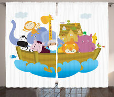 Story Noah's Ark with Set of Animals Faith Cartoon Print Curtain 2 Panels Set