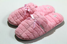 Ladies Womens Pink Furry Soft Warm Mule Slippers Warm Winter House Slippers
