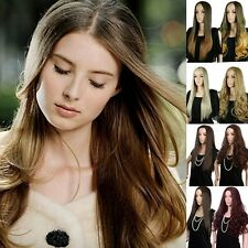 Sexy Women Two Tone Ombre Sombre Long Straight Curly Hair 3/4 Half Full Wig USA