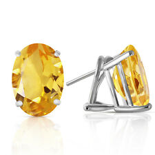 13 Carat 14K Solid White Gold French Clips Earrings Natural Citrine