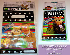 MUPPETS 6 PARTY INVITATIONS or 6 PLASTIC LOOT BAGS Miss Piggy Fozzy Kermit Gonzo