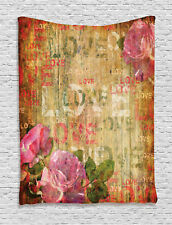Rustic Floral Wooden Print Retro Roses Antique Art Design Wall Hanging Tapestry