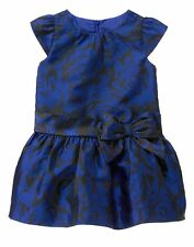 GYMBOREE Best In Blue Royal Black Satin Tulle Bow Holiday Dress 18-24 M NWT $60