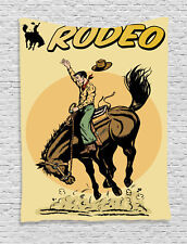 Vintage Rodeo Cowboy Riding Horse American Wild West Print Wall Hanging Tapestry