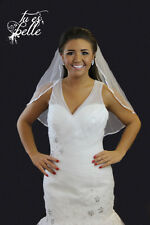 Ivory/White 1 Tier Shoulder Length Bridal Wedding Veil With Crystals Satin Edge