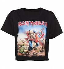 Official Women's Black Iron Maiden Trooper Slouchy Cropped T-Shirt