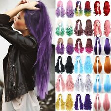 Women Girl Anime Cosplay Carnival Party Full Wig Long Wavy Curly Straight Hair