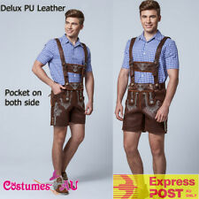 Deluxe Mens Lederhosen Costume Oktoberfest Octoberfest Bavarian German Beer Hat