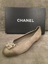 CHANEL 16P Glitter Suede Crystal Jewel Bow Ballerina Ballet Flat Shoes Brwn $975