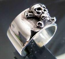 SILVER BIKER BAND RING CROSS BONES PIRATE SKULL BUKANEER JOLLY ROGER MC ANY SIZE