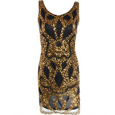 1920s Sleeveless Flapper Dress Deco Gatsby Vintage Sequin Cocktail Party Gown 5