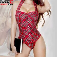 Red Plaid Overbust Bustier Corset Boned Waist Trainer Cincher Body Shaper Halter