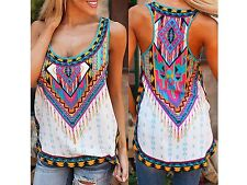 Women Summer Bohemian Sleeveless Beach Vest T-shirt Pattern Printed Tank Tops