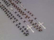 Christian Prayer Rosary Wood Beads Silver Chain & Crucifix BLACK or BROWN Gift!