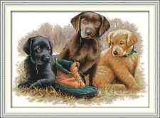 Kit broderie point de croix imprimé/compté,11/14CT,Cross Stitch Three dogs
