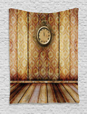 Antique Clock on Medieval Style Wall Classical Themed Art Wall Hanging Tapestry
