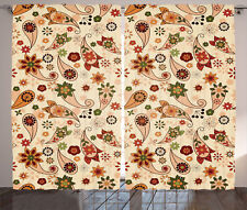 Curtains Paisley Flowers and Leaves Floral Art Beige 2 Panels Set