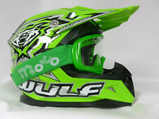 WULFSPORT FLITE-XTRA KIDS MOTOCROSS OFF ROAD GREEN HELMETS+X1 OFF GREEN GOGGLE