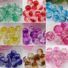 Lots 20/50Pcs Czech Glass Crack Craft Crystal Loose Round Spacer Beads 8MM