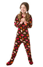 Little Girls Brown with Pink Hearts Fleece Footed Pajamas Onesie 12M - 4T