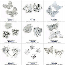 Antique Silver Tone Jewelry Making Charms Butterfly Connector Fairy Handmade Tag