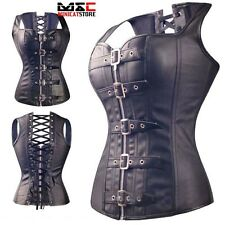 Gothic Boned Lace Up Faux Leather Steampunk Corset Waist Trainer Bustier Cincher