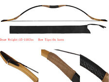 Handmade hunting Longbow Cow Leather HorseBow Recurve Archery With OX Horn