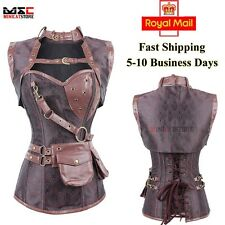 Gothic Steampunk Boned Jacquard Brocade Overbust Corset Jacket Belt Costume Top