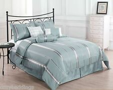 FINAL SALE - Park Avenue 7pc Comforter Set Blue, Gold Bed Cover Full,Queen,King
