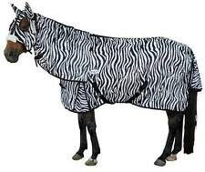 CARIBU Zebra Pattern 270gsm FLY AIR MESH Attached Hood Horse Rug, Durable & Cool