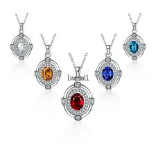 Silver Plating Link Chain Oval Shape Women Rhinestone Beautiful Necklace LM