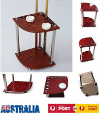 8Holes Pool Snooker Billiard Corner Free Cue Stand Rack+ Drink/Ashtray/Ball Rest