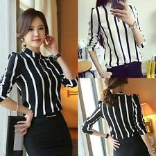 Sexy Long Sleeve Chiffon Tops Womens Casual Loose Striped Shirt Blouse PLUS SIZE