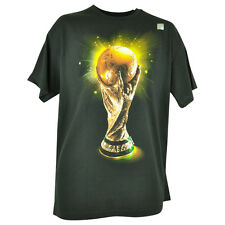 Fifa World Cup 2014 Gold Trophy Logo Tshirt Soccer Futbol Mens Black Tee