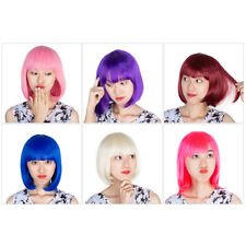 Short Straight Ladies BOB Synthetic Hair Wig with Cap Peruca Fibre Cosplay Party