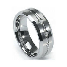 Men's 8mm Tungsten Carbide Wedding Ring Band Cubic Zirconia Size 9 10 11 12 13
