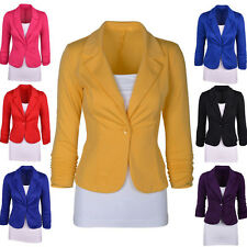 Womens Candy Color Blazer Jacket Suit Work Casual Basic Long Sleeve Button Coat