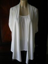 Cardigan Sweater Ivory White Knit Top Blouse Career Casual Evening Plus Size 1X