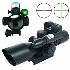 2.5-10x40 Tactical Rifle Scope Red/Green Laser & Mini Hunting MOA Red Dot Sight