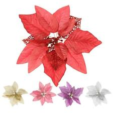 "8"" Christmas Poinsettia Flowers Xmas Tree Decoration Glitter Wedding Party Décor"