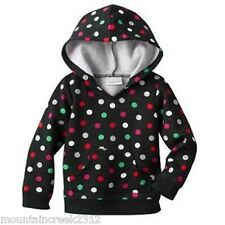 JUMPING BEANS Girls Shirt Size 3 6 9 months Polka Dot Hooded Top Black NEW