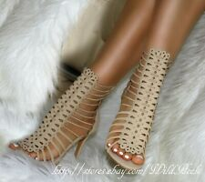 Nude / Beige Strappy Perforated Front Open Toe Gladiator Bootie Heels