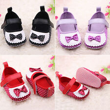 Infant Girls Baby Polka Dots Trainers Shoes Soft Sole Bowknot Prewalker Welcome