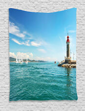 Bright Day by Seaside Sailboats Lighthouse Island Seascape Wall Hanging Tapestry