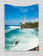 Tropical Island Lighthouse Palm Trees Seaside Beach Print Wall Hanging Tapestry