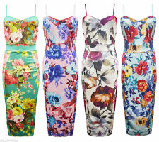 Womens Celeb Cami Strappy Sleevless Floral Print Bodycon Midi Dress Plus Size