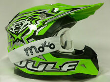 WULFSPORT FLITE-XTRA KIDS MOTOCROSS OFF ROAD GREEN HELMETS+X1 OFF WHITE GOGGLE