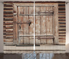 Timber Rustic Gate Door in Wall of Old Log House Art Print Curtain 2 Panels Set