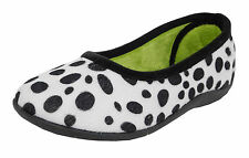 Womens Ladies Memory Foam Fur Velour Dalmation Dog Spot Slippers Sleepers 3-8