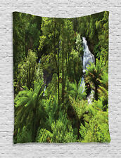 Rainforest with Waterfall and River Green Exotic Zen Decor Wall Hanging Tapestry